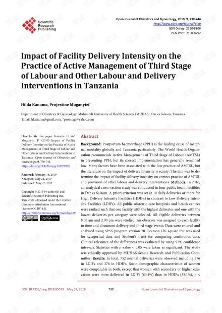 论文研究 - 设施交付强度对坦桑尼亚第三阶段劳动及其他劳动和交付干预的积极管理实践的影响
