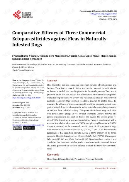论文研究 - 三种商业杀寄生虫剂对自然感染犬跳蚤的比较功效