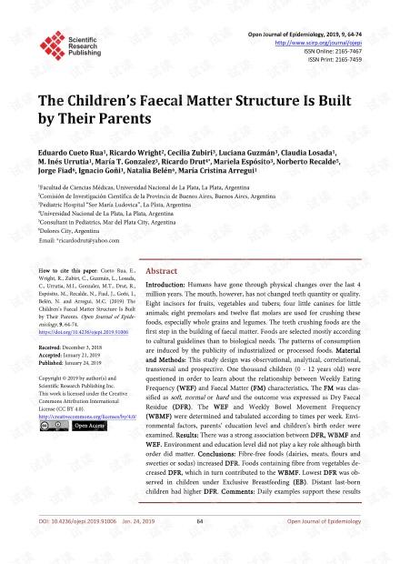 论文研究 - 儿童的粪便物质结构由父母建立