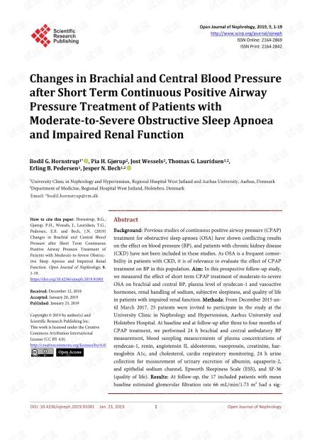论文研究 - 短期至持续性气道正压通气治疗中度至重度阻塞性睡眠呼吸暂停和肾功能损害的患者臂和中央血压的变化