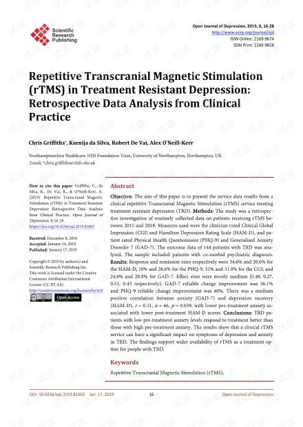 论文研究 - 重复性经颅磁刺激(rTMS)治疗抗抑郁症:来自临床实践的回顾性数据分析