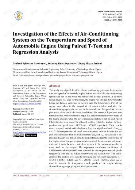 论文研究 - 利用配对T检验和回归分析研究空调系统对汽车发动机温度和速度的影响