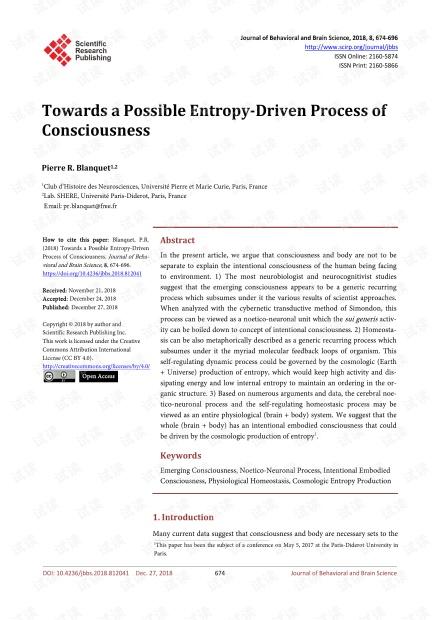 论文研究 - 走向可能由熵驱动的意识过程
