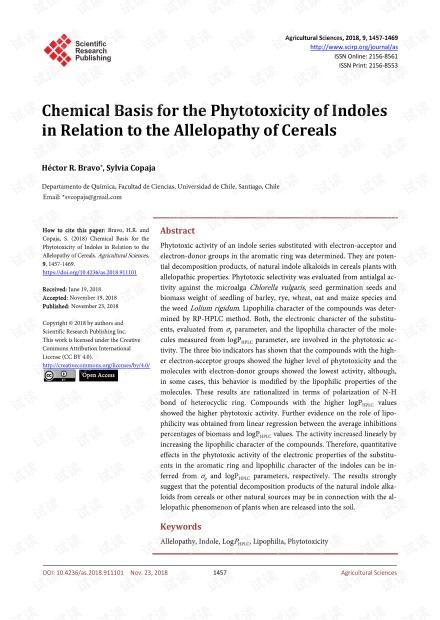 论文研究 - 吲哚植物毒性与谷物化感作用的化学基础