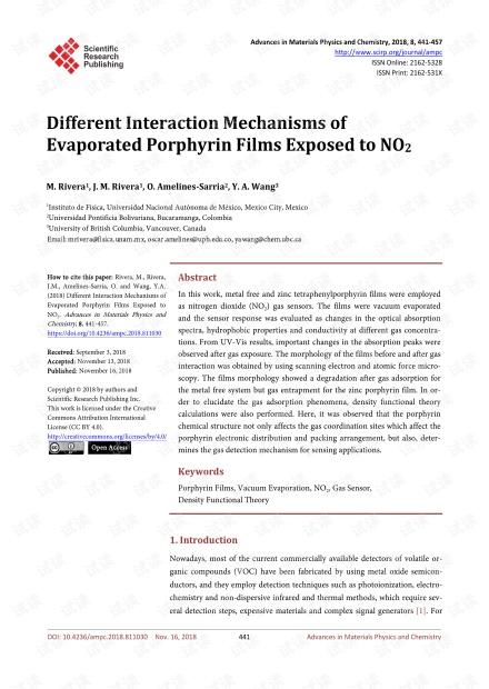 论文研究 - 暴露于NO下蒸发的卟啉薄膜的不同相互作用机理