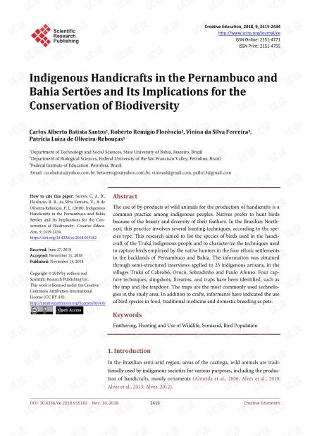 论文研究 - 伯南布哥州和巴伊亚州的土著手工艺品及其对生物多样性保护的意义