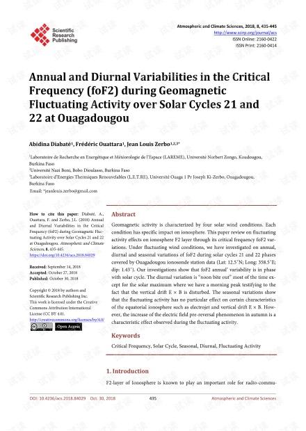 论文研究 - 瓦加杜古太阳周期21和22的地磁波动活动期间,临界频率(foF2)的年度和日变化