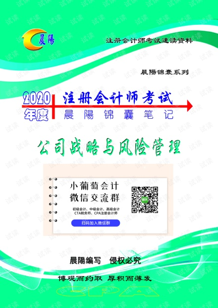 2020年注册会计师《战略》晨陽锦囊笔记.pdf