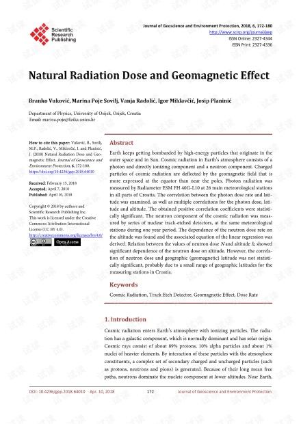 论文研究 - 自然辐射剂量和地磁效应