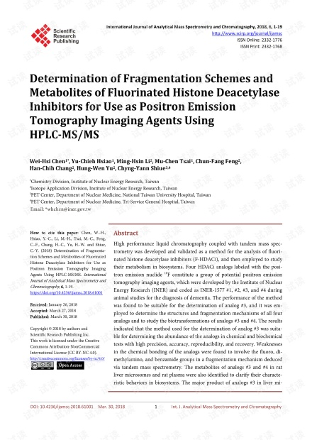 论文研究 - 使用HPLC-MS / MS确定用作正电子发射断层显像剂的氟化组蛋白脱乙酰基酶抑制剂的裂解方案和代谢物