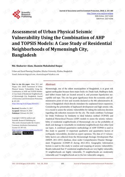 论文研究 - 基于AHP和TOPSIS模型的城市地震易损性评估:以孟加拉国Mymensingh市居民区为例