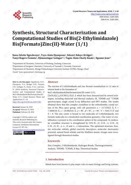 论文研究 - 双(2-乙基咪唑)双(甲酰基)锌(II)-水(1/1)的合成,结构表征和计算研究
