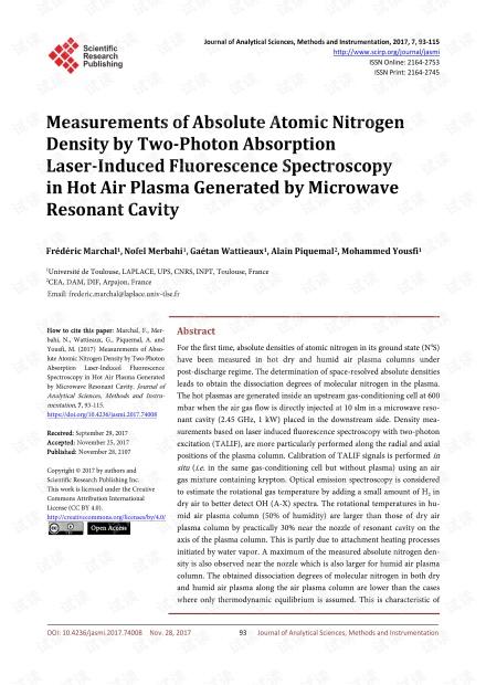 论文研究 - 微波谐振腔产生的热空气等离子体中双光子吸收激光诱导的荧光光谱法测量绝对原子氮密度