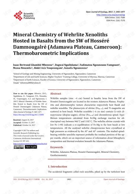 论文研究 - HosséDammougalré(喀麦隆,Adamawa高原)西南部玄武岩中的Wehrlite Xenoliths矿物化学:热力学意义