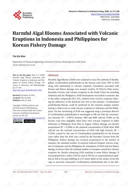 与印度尼西亚和菲律宾的火山喷发相关的有害藻华对韩国渔业造成损害