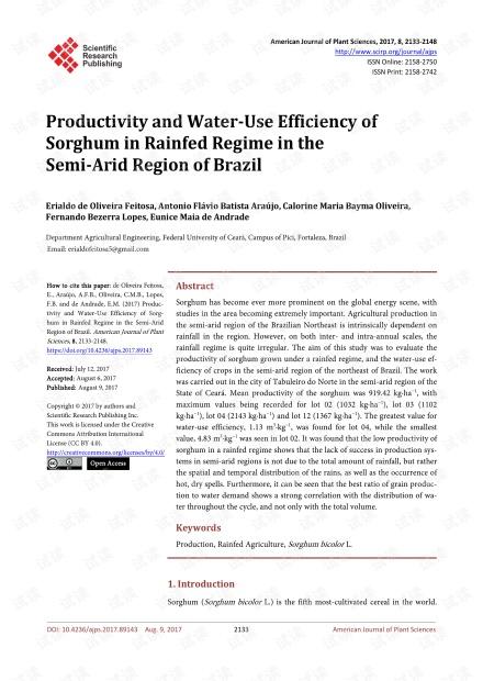 巴西半干旱地区雨养地区高粱的生产力和水分利用效率