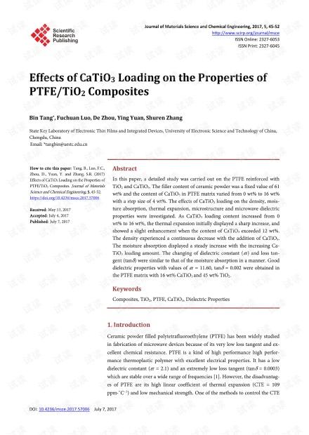 CaTiO3负载量对PTFE / TiO2复合材料性能的影响