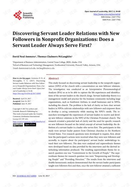 与非营利组织中的新追随者发现仆人领导者关系:仆人领导者总是服务第一吗?