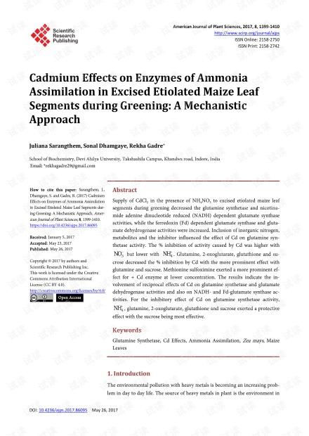 绿化过程中镉对切离的黄化玉米叶节中氨同化酶的影响:一种机械方法