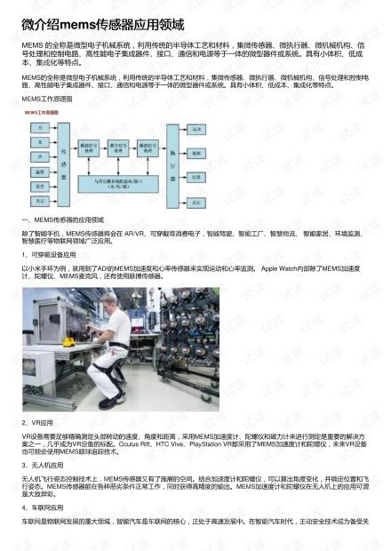微介绍mems传感器应用领域