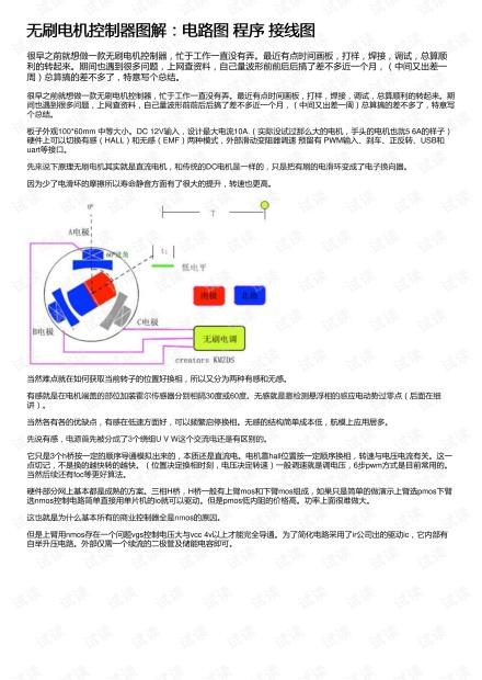 无刷电机控制器图解:电路图 程序 接线图