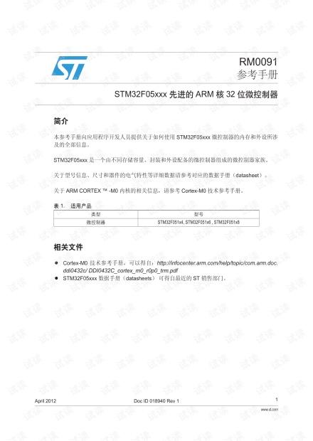 STM32F0xx中文参考手册.pdf