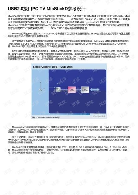 USB2.0接口PC TV MicStickD参考设计