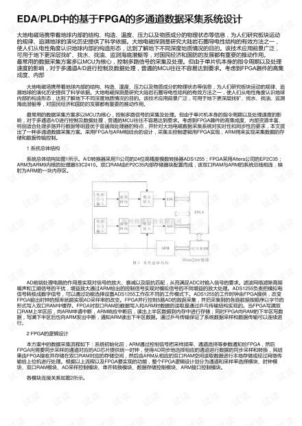 EDA/PLD中的基于FPGA的多通道数据采集系统设计