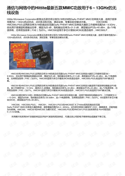 通信与网络中的Hittite最新五款MMIC功放用于6~13GHz的无线设备