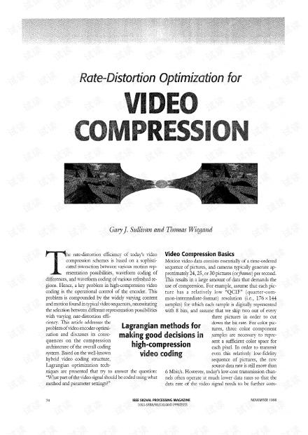 率失真优化论文:Rate-Distortion Optimization for Video Compression.pdf