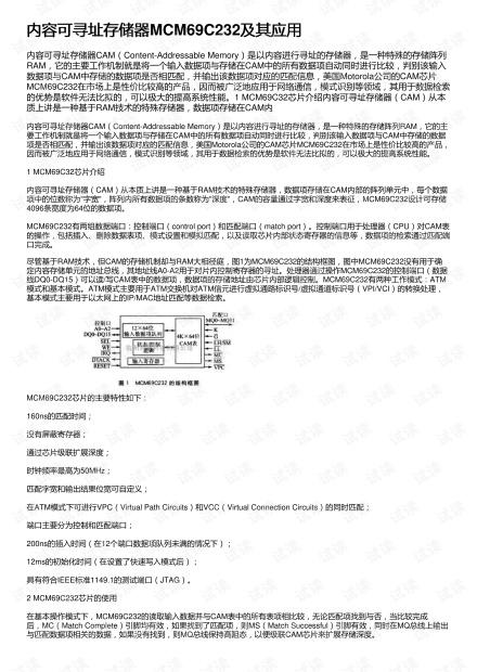 内容可寻址存储器MCM69C232及其应用