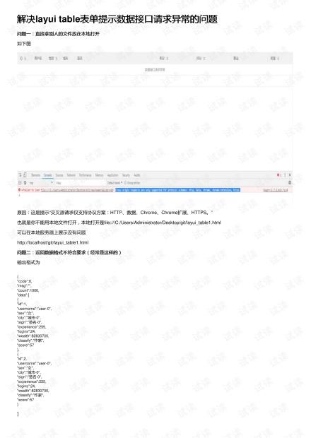 解决layui table表单提示数据接口请求异常的问题