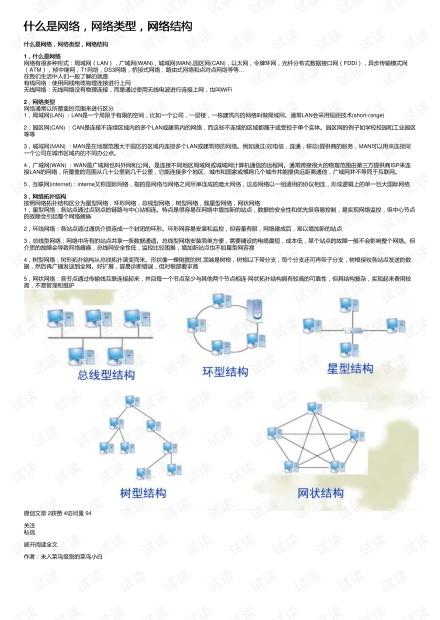 什么是网络,网络类型,网络结构