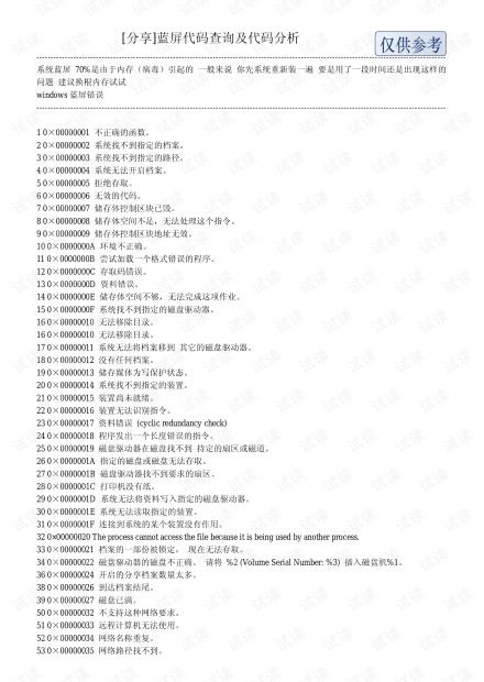 蓝屏代码查询及代码分析.pdf
