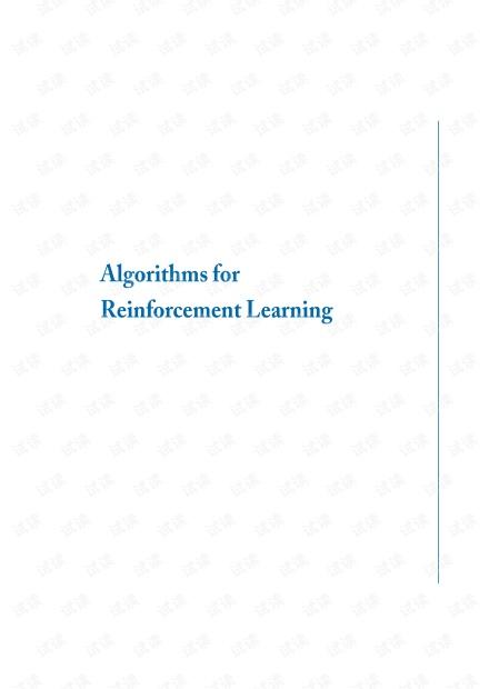 Algorithms for Reinforcement Learning by Csaba Szepesvári