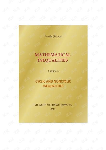 Vasile Cîrtoaje - Cyclic and noncyclic inequalities. Volume 3 (2015).pdf