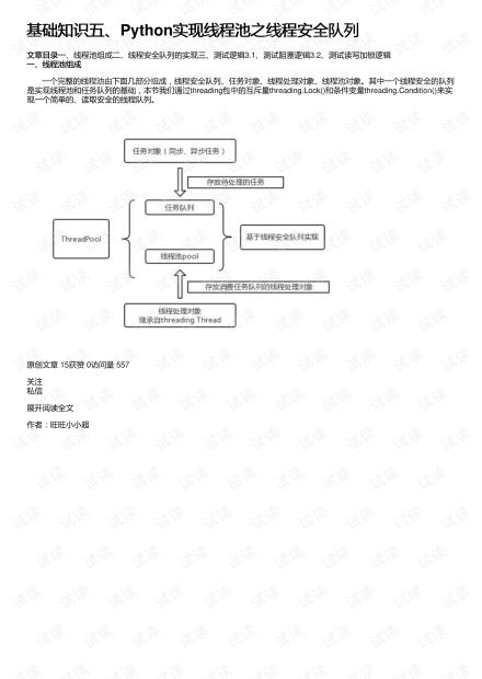 基础知识五、Python实现线程池之线程安全队列