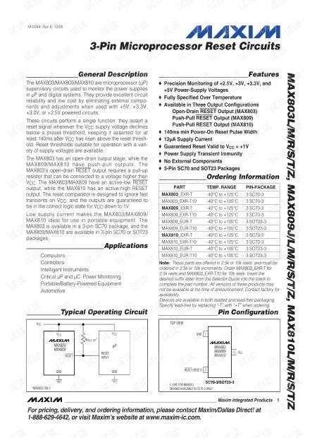 复位电路芯片MAX809