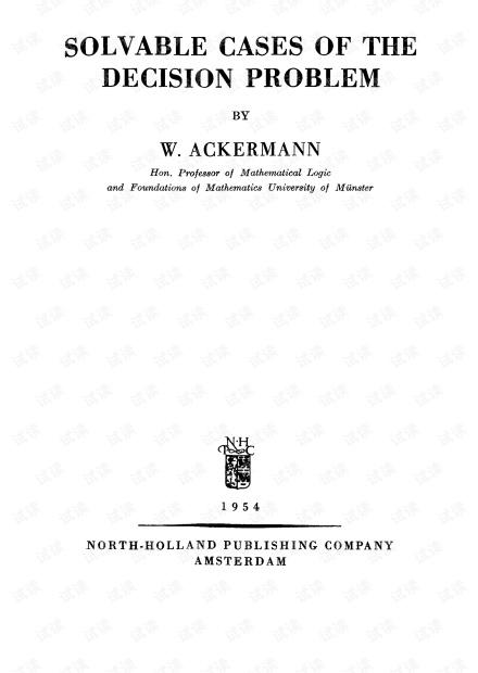 [SLFM 015] Solvable Cases of the Decision Problem - W.Ackermann (NH 1954)(T).pdf