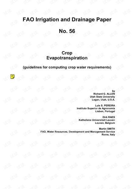 FAO_Irrigation_Drainage_Paper_56(作物腾发量-作物需水量计算指南).pdf