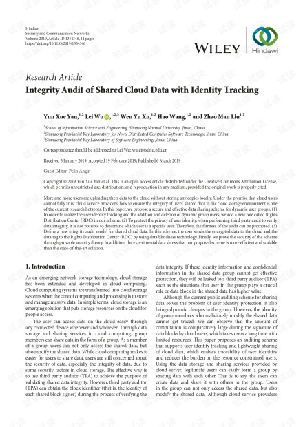 Integrity Audit of Shared Cloud Data with Identity Tracking