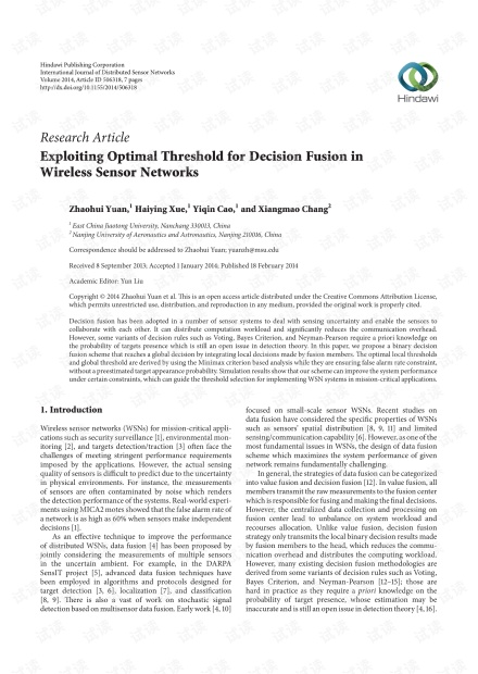 Exploiting Optimal Threshold for Decision Fusion in Wireless Sensor Networks