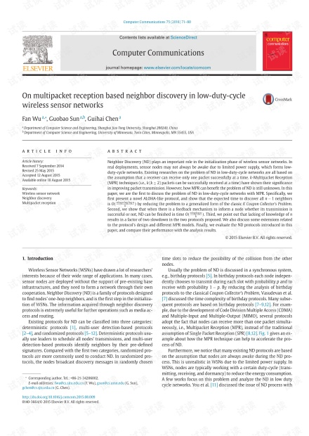 On multipacket reception based neighbor discovery in low-duty-cycle wireless sensor networks