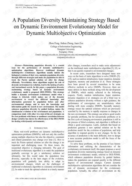 动态多目标优化的基于动态环境演化模型的种群多样性维持策略