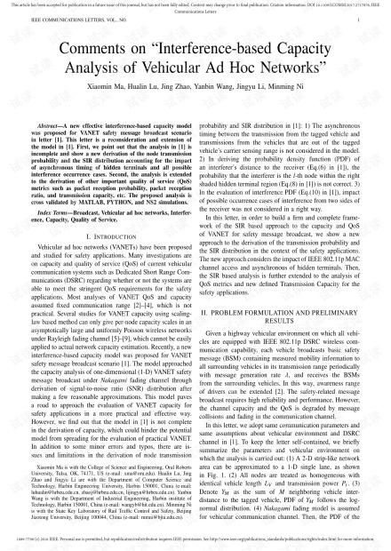 """关于""""车载Ad Hoc网络基于干扰的容量分析的评论"""""""