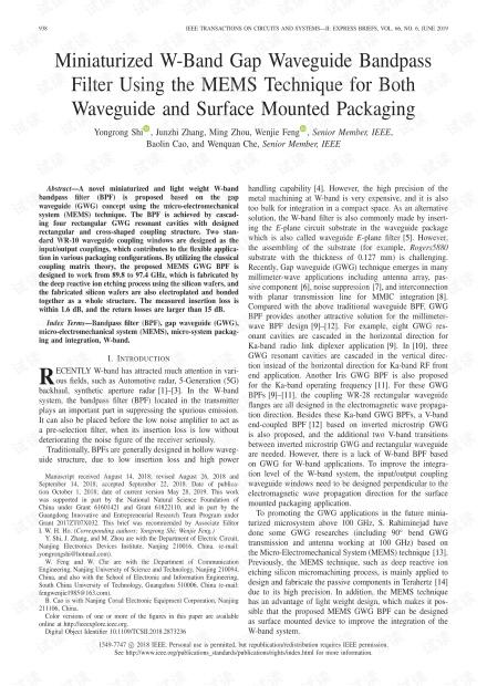 使用MEMS技术的波导和表面安装封装的小型W波段间隙波导带通滤波器