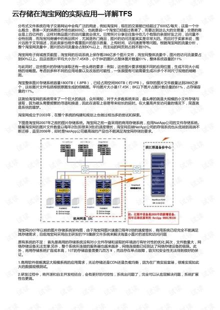 云存储在淘宝网的实际应用—详解TFS