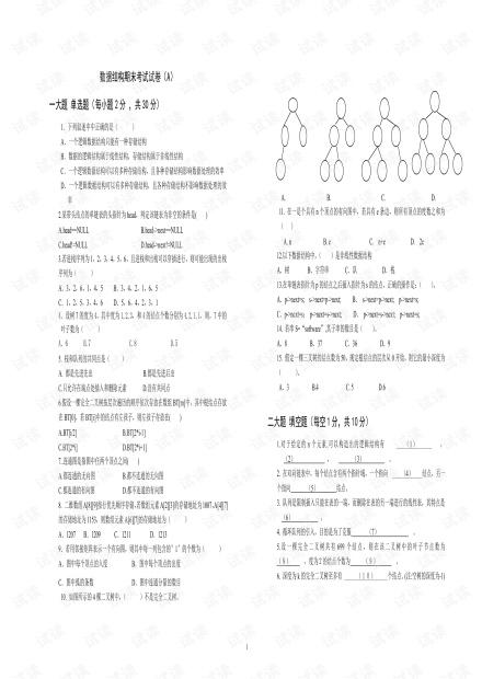 两套《数据结构》期末试卷.pdf