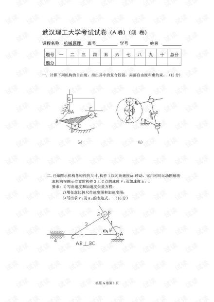 武汉理工大学《机械原理》期末试卷及参考答案.pdf