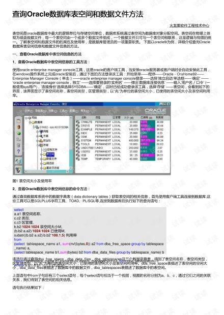 查询Oracle数据库表空间和数据文件方法